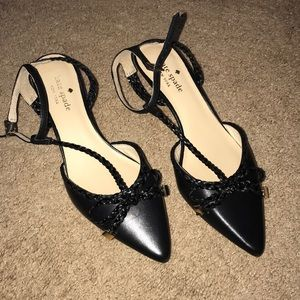 Kate Spade Black Low Heel Flats with Bow